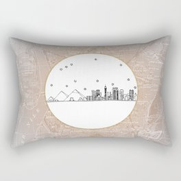 Cairo, Egypt (Giza), Africa City Skyline Illustration Drawing Rectangular Pillow