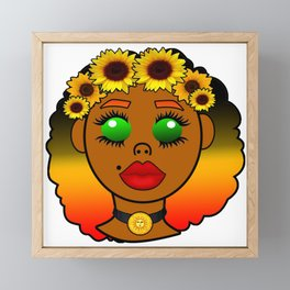Kawaii Sunflower Goddess Framed Mini Art Print