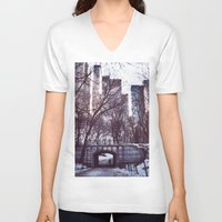central park V-neck T-shirts featuring Central Park by MereMades