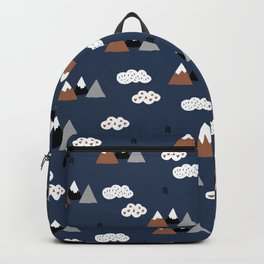 Fuji mountain top winter canada climbing theme navy gray rust Backpack