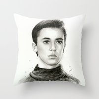 wesley bird Throw Pillows featuring Wesley by Olechka