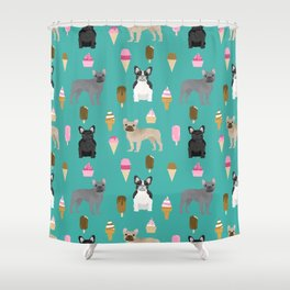 frenchie ice cream cute funny dog breed pet pattern french bulldog Shower Curtain