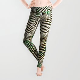 Optical Illusion: Black & White With Green Accents Leggings