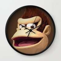 video games Wall Clocks featuring Triangles Video Games Heroes - Donkey Kong by s2lart