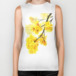 yellow trumpet trees watercolor yellow roble flowers yellow Tabebuia Biker Tank