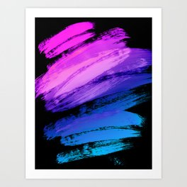 Hot Pink to Sky Blue Abstract Brushstrokes Art Print