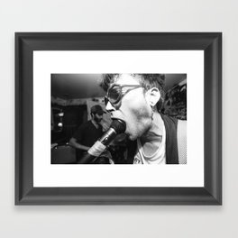 Man With Microphone in his Mouth Framed Art Print