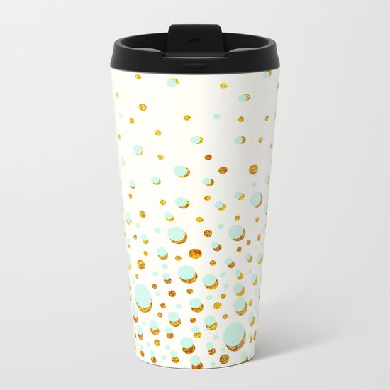 Polka dots Mint - gold Metal Travel Mug
