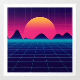 Throwback Sunset Synthwave Art Print