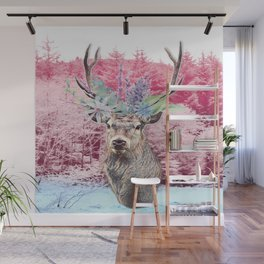 Floral Stag Wall Mural