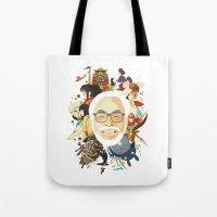 hayao miyazaki Tote Bags featuring Miyazaki-San by Danny Haas