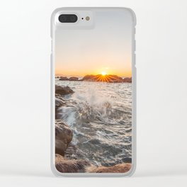 Admiring the sea to the last rays of sun... Clear iPhone Case