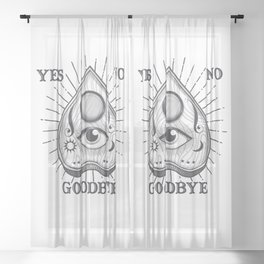 Yes No Goodbye Magic Ouija Vintage Planchette Design Sheer Curtain