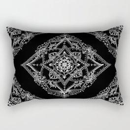 Mandala Doodle Pattern in Black & White Rectangular Pillow