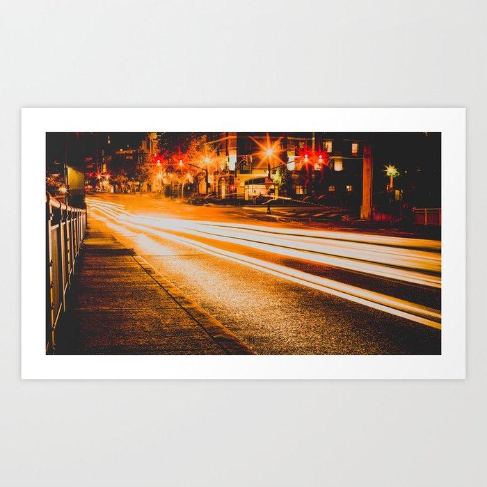 Time Lapse / Photography / Streetlights / Night Art Print