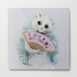 Louis Wain's Feline Temptress With Fan Metal Print