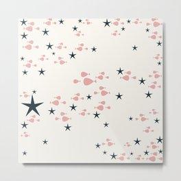 fish and stars pink Metal Print