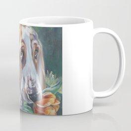 Beautiful Basset Hound dog portrait art an original painting by L.A.Shepard Coffee Mug