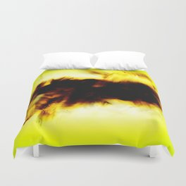 Hole In My Heart Black White Yellow Abstract Duvet Cover