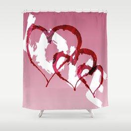 Triple Heart Love Shower Curtain