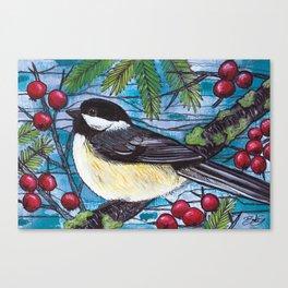 Yuletide Chickadee Canvas Print