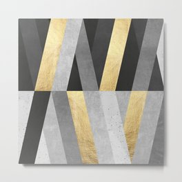 Gold and gray lines I Metal Print