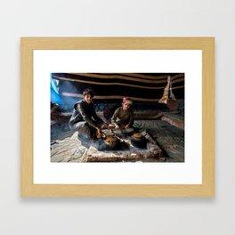 Bedouin Life - Drinking tea in Wadi Rum Framed Art Print