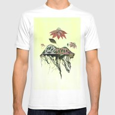 Uprooted Flowers White Mens Fitted Tee MEDIUM