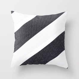 White Black Stripes Throw Pillow
