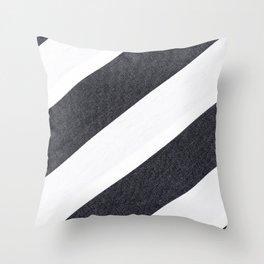 White Black Stripes Throw Pillow