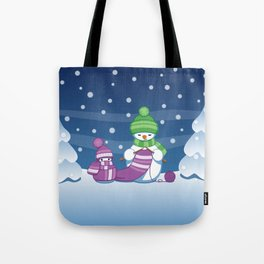 Crafty Snowman Knitting Scarf Tote Bag