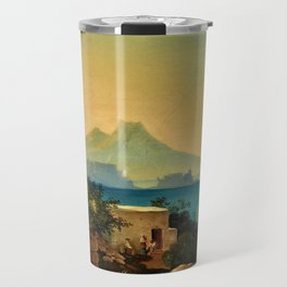 The Bay of Naples, Italy & Mount Vesuvius by Ludwig Richter Travel Mug