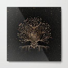The Golden Owl Tree Metal Print