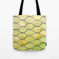 the wire Tote Bags featuring Chicken Wire by Dawn Patel Art