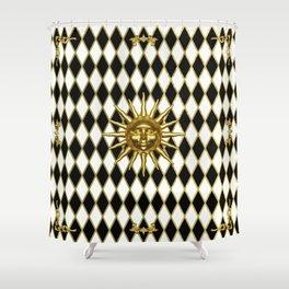 Golden Sun - Black & Gold Diamonds Shower Curtain