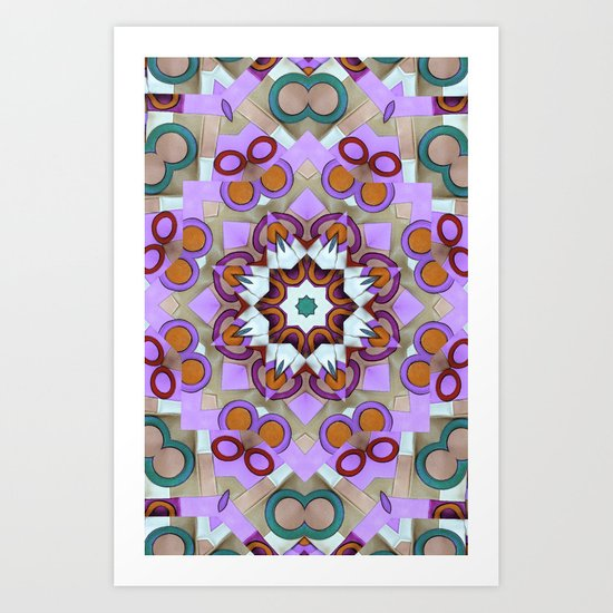 Pink Retro Leather Mandala Art Print