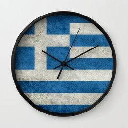 Flag of Greece, vintage retro style Wall Clock