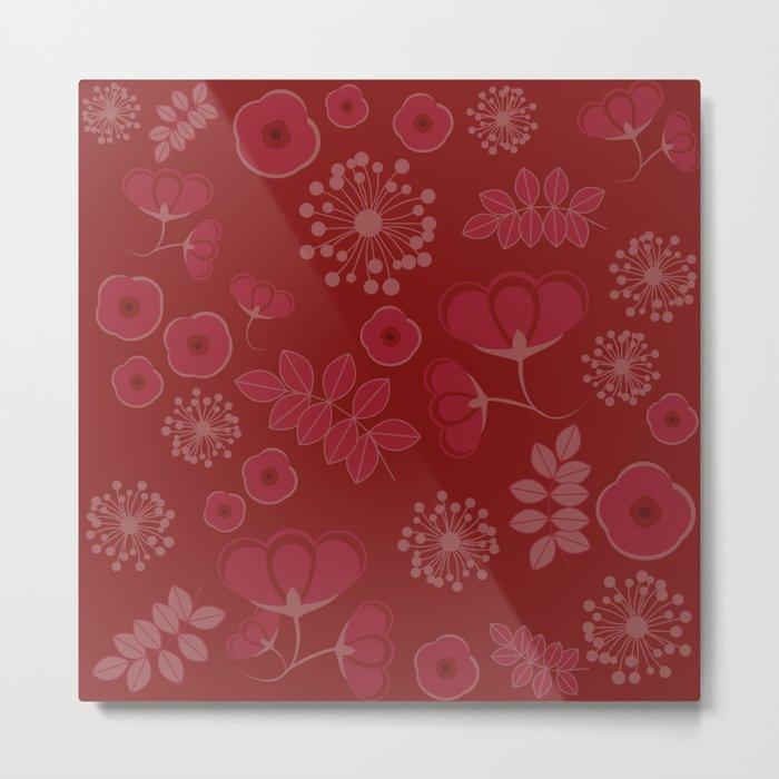 Marsala flowers pattern Metal Print
