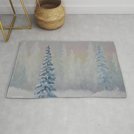 Winter scenery, oil painting by Luna Smith, LuArt Gallery landscape Rug