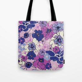 Red Violet and Navy Anemones Tote Bag