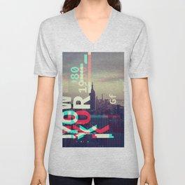GLITCH CITY #80: New York Unisex V-Neck