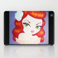 rockabilly iPad Cases featuring Rockabilly Redhead by Little Bunny Sunshine