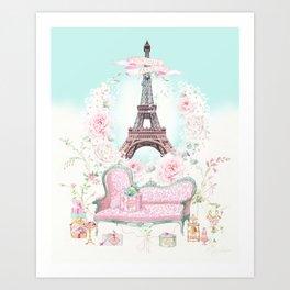 Eiffel Tower, Bonjour Paris Art Print