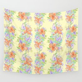 hawaiian tropical flowers yellow Wall Tapestry