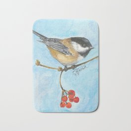 Chickadee On Berry Branch Bath Mat