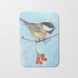 Chickadee On Berry Branch Bath Mat