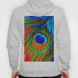 RED & BLUE-GREEN  BAROQUE  PEACOCK FEATHERS ART Hoody