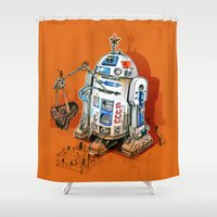 soviet Shower Curtains featuring 1st in space by pakowacz