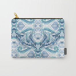 Lily, Leaf & Triangle Pattern – blues Carry-All Pouch