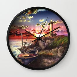 lighthouse landscape sky Wall Clock
